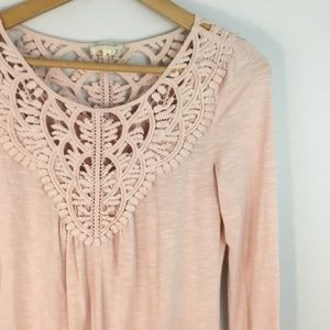 Anthropologie Meadow Rue Bobbin Lace Tee